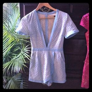 Misguided light blue lacey Playsuit/Romper